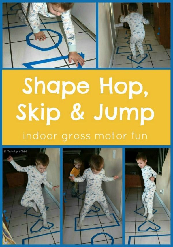 Shape Toss, Hop, Skip, and Jump! {Indoor Gross Motor Game}  This is a SIMPLE game fun for toddlers and up, perfect for keeping kids active even on rainy or snowy days.  It takes less than five minutes to set up and provides many hours of entertainment.