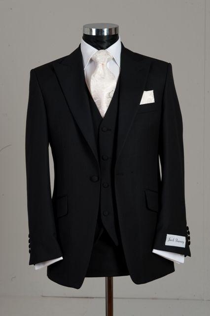 Slim Line Three Piece Black Wedding Suit To Purchase
