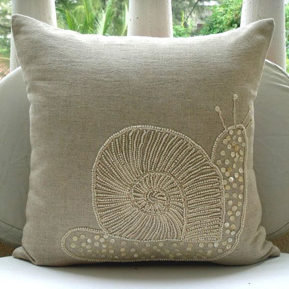 Decorative Throw Pillow Covers Accent Couch Pillow 16x16 Inch Beige Linen Pillow Mother Of Pearl Embroidered Snail Pearls Bedroom Home Decor...