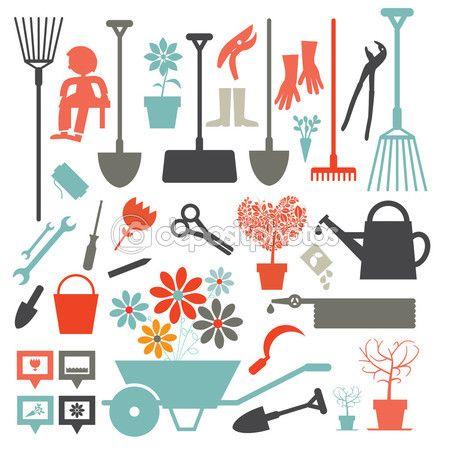 Baixar - Ícones de jardinagem vector - conjunto de ferramentas isolada no fundo branco — Ilustração de Stock #70210349
