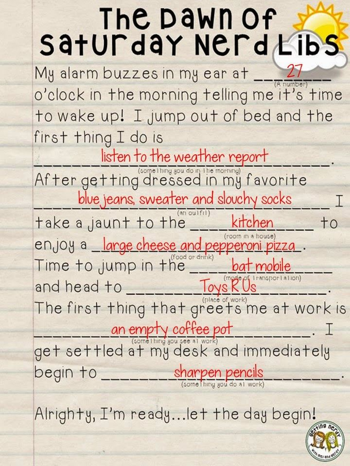 Do you remember doing Mad Libs when you were younger? If so, do you remember some of the crazy stories you came up with? Hehehe, our friends Mel and Gerdy made a funny Mad Lib and asked for teachers to fill in the blanks. Here is my Mad Lib story... - See more at: http://kellysclassroomonline.blogspot.com/#sthash.s7IT5sw4.dpuf