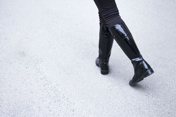 Palmroth boots black water resistant patent