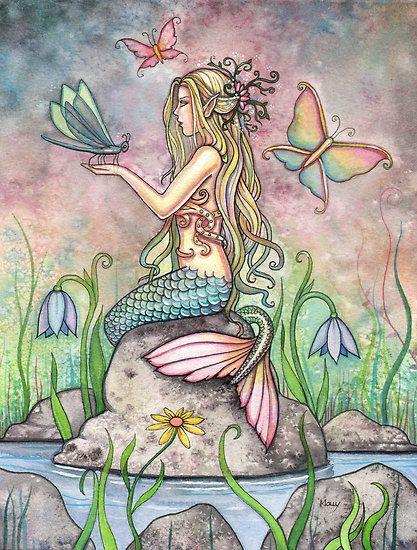 """""Creekside Magic"" Mermaid Art by Molly Harrison"" by Molly Harrison | Redbubble"