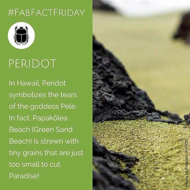 HAWAII HAS A BEACH MADE OF PERIDOT!! Sorry we're shouting but we're so excited!! we want to go there. Now. Anyone coming with? #peridot #Hawaii #greenSandBeach #gemstones #FabFactFriday