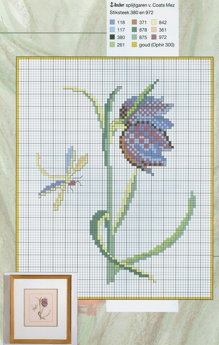 Free tulip cross stitch pattern from www.coatscraft.pl