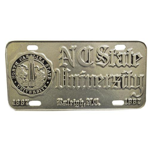NC State Wolfpack Seal w/ Old English Pewter License Plate