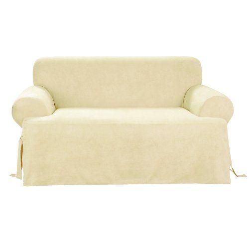 Sure Fit Soft Suede T Cushion   Sofa Slipcover   Cream (SF38643)