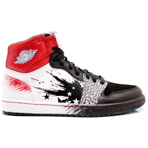 Air Jordan Retro 1 Dave White Wings For The Future Black Sport Red White  464803-