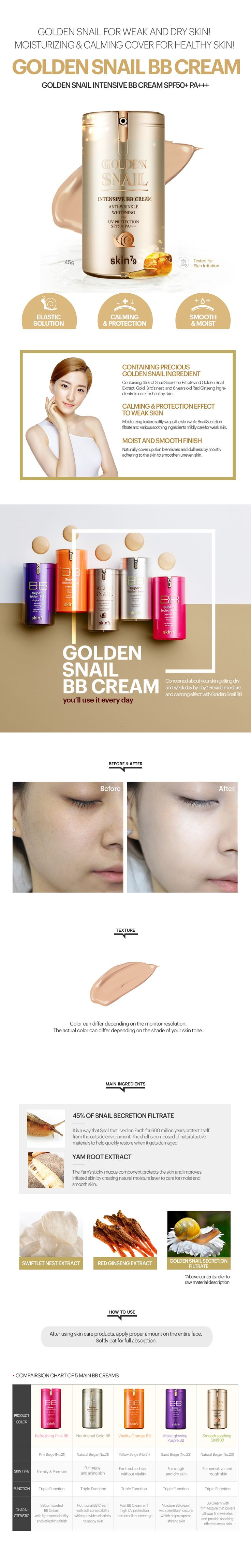 Skin79 Golden Snail Intensive BB Cream SPF50 PA+++ contains Yam Root Extract, Red Ginseng Extract and 45% snail cream to prevent wrinkles and skin damage. It keeps your skin to be bright and clear for a long time.