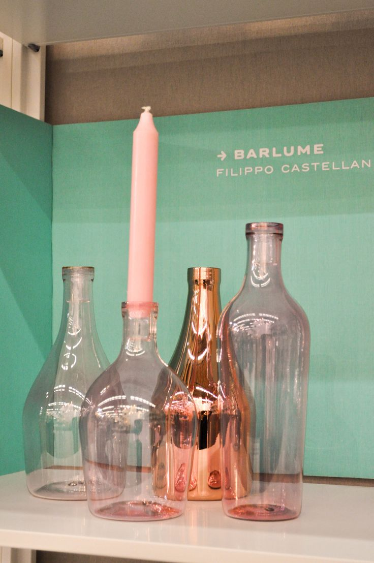 Barlume candleholders by Filippo Castellani, fuchsia transparent and metallic finishing