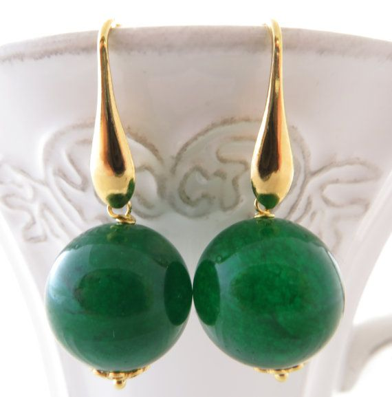 Green jade earrings mint green stone earrings by Sofiasbijoux