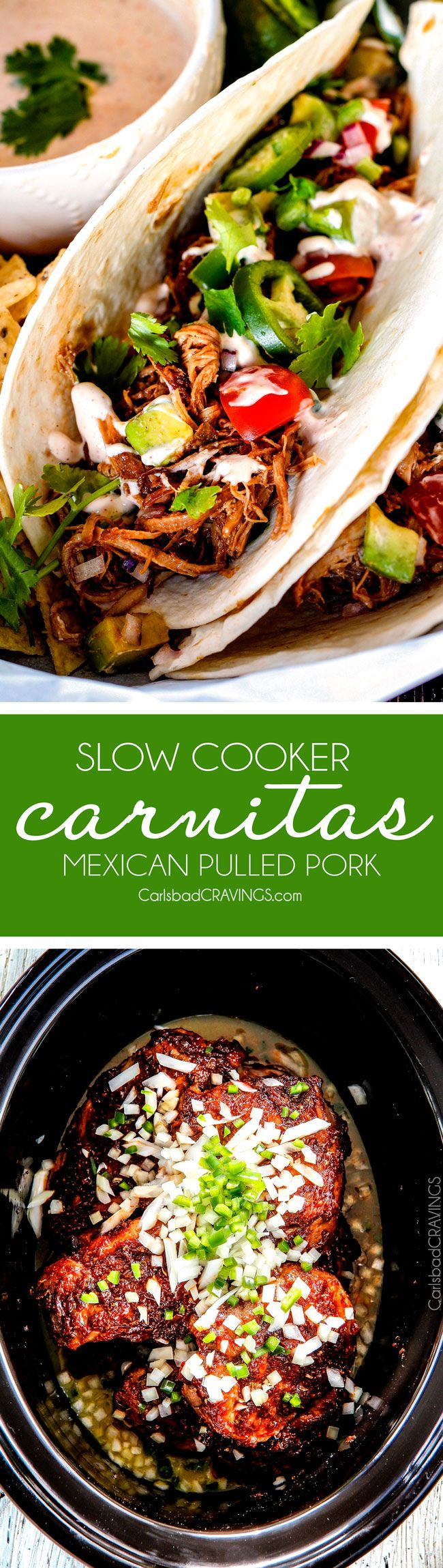 these are the BEST Pork Carnitas (Slow Cooker Mexican Pulled Pork) I have ever tried! Super juicy, easy and so much more flavorful than other versions I've tried and the crispy burnt ends are the best! Great for large crowds and for tacos, burritos, or nachos! via @carlsbadcraving