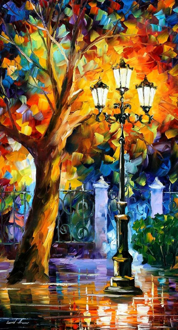 Romantic Aura — PALETTE KNIFE Landscape Tree Oil Painting On Canvas By Leonid Afremov