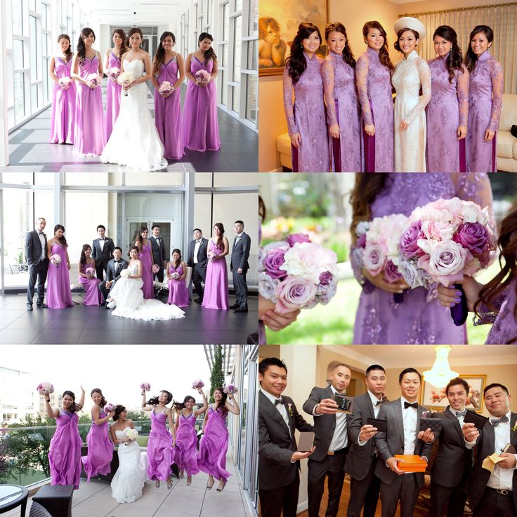 Pantone Color Of The Year 2014 : Radiant Orchid as a Wedding Theme/Inspiration. The girls are wearing Orchid bridesmaid dresses and traditional Vietnamese Ao Dai, while the men are in grey suits! A perfect and gorgeous wedding color! (Click on pic for better quality). Photos taken by Composure Studios http://composurestudios.com/blog/?s=ly