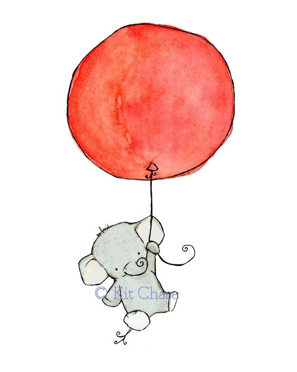 Elephant Children's Art Print 5×7 cherry red balloon Flying High. $10.00, via Etsy. – Donna Garlough