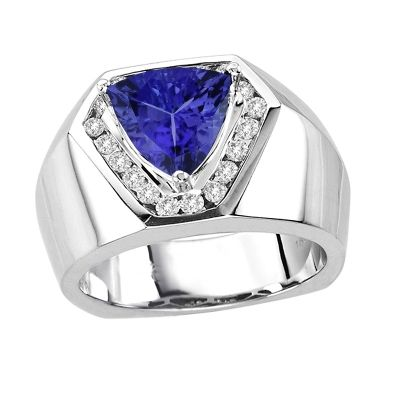 2 25tcw Trillion Tanzanite Ring In 14k White Gold Price 4442 Mens Gold Rings Tanzanite