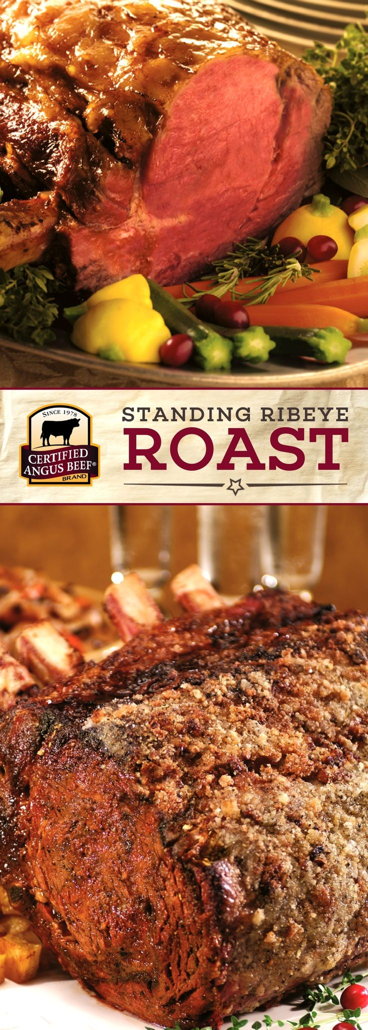 This is a SHOW STOPPER! The Classic Christmas roast! Certified Angus Beef®️️️️️️️️️️️️️️ brand Standing Ribeye Roast has rich flavor, juicy tenderness and a majestic appearance perfect for your holiday dinner.  A rib roast is easy to make with help from our Roast Perfect app and always makes an impressive centerpiece for your holiday meal #bestangusbeef #certifiedangusbeef #roastperfect #roastrecipe #beefrecipe #holidayrecipes