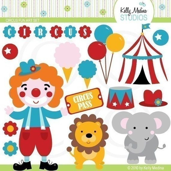 Circus Fun Clip Art Set  Digital Elements by Kellymedinastudios, $5.00