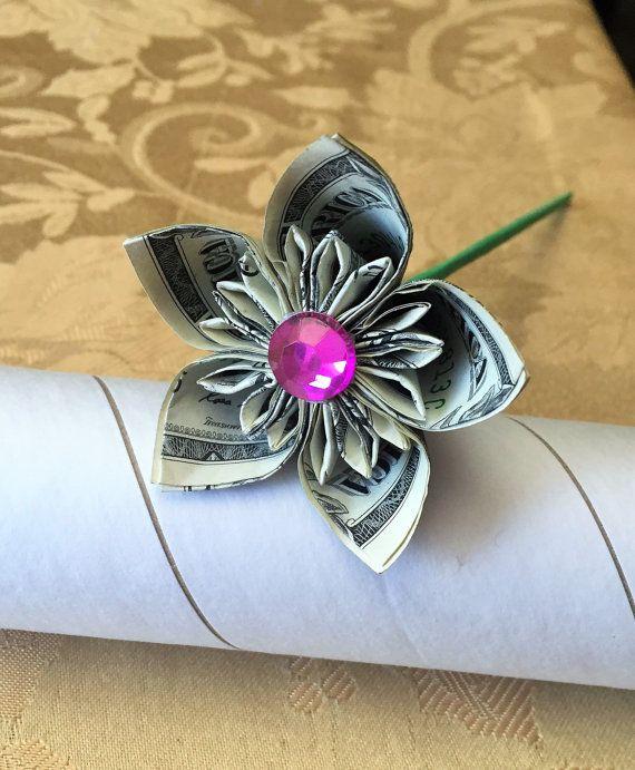 money flower - origami kusudama - dollar flower - US dollar bills - flower Gift