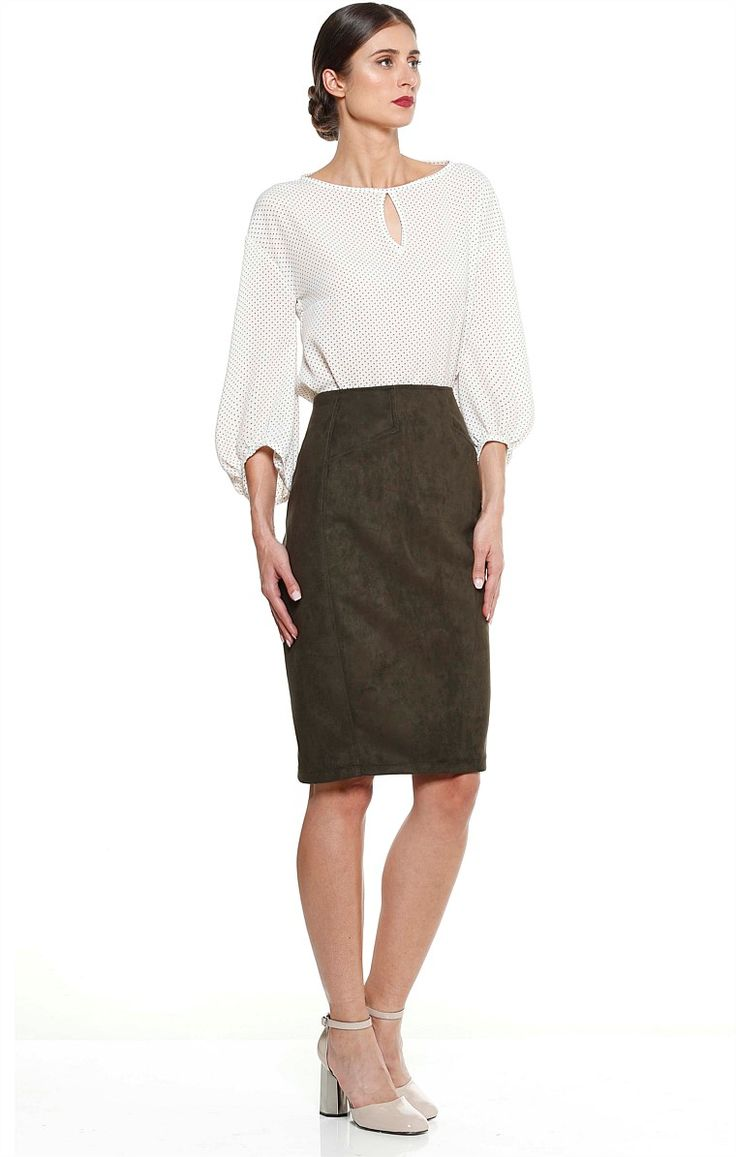 ICARDO FAUX SUEDE KNEE LENGTH FITTED PENCIL SKIRT IN OLIVE