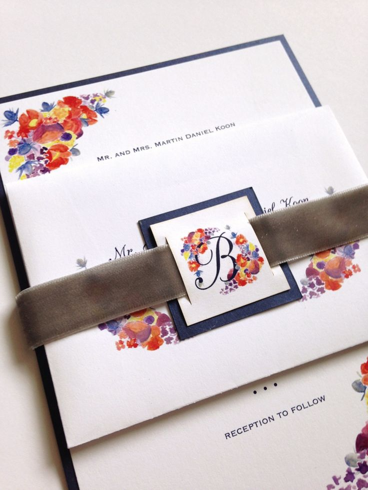 wedding invitation tied with ribbon%0A Custom fall watercolor wedding invitation suite by Sable and Gray