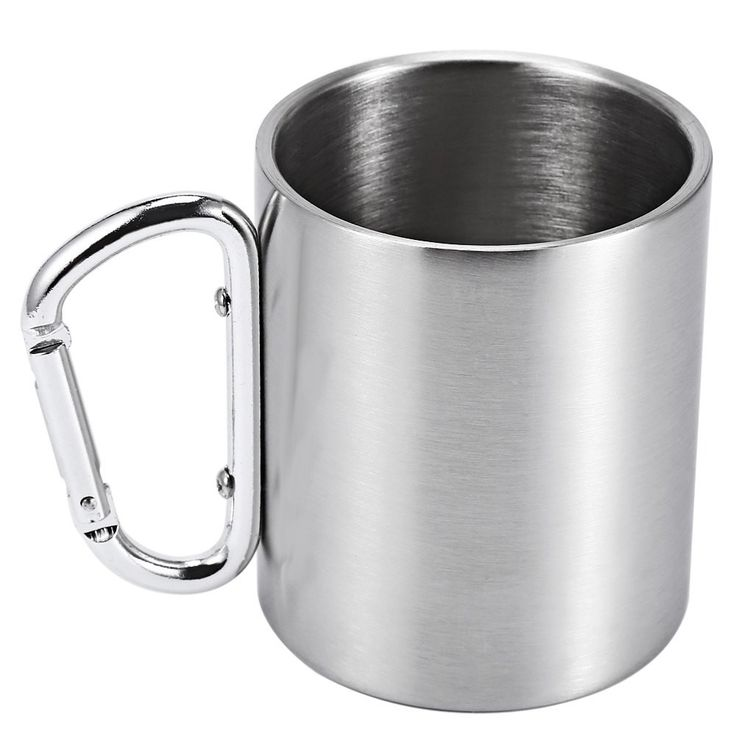 Stainless Steel Coffee Mug Tea Cup With Carabiner Handle