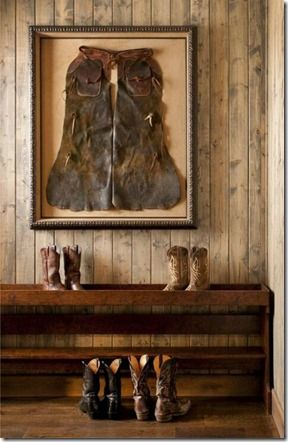 Beautiful shadowbox for western chaps. Perfect for the western home.   Stylish Western Home Decorating