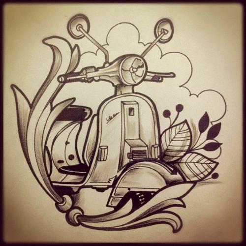 Design vespa motocicle!!! #tattoo #tatuaje #design #pen #lapiz #sharpie #skin…