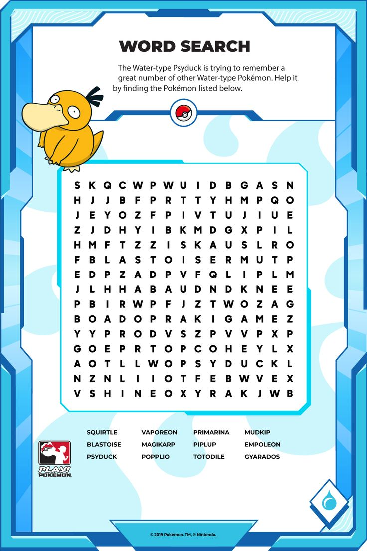 Help Psyduck find the Water-type Pokémon listed below! Water Type Pokemon, Play Pokemon, Try To Remember, Word Search, It Works