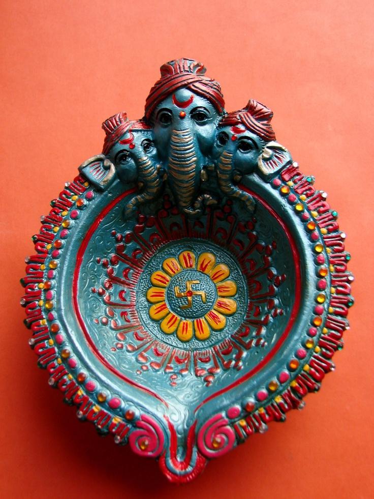 Handpainted Ganesh Diwali diya.
