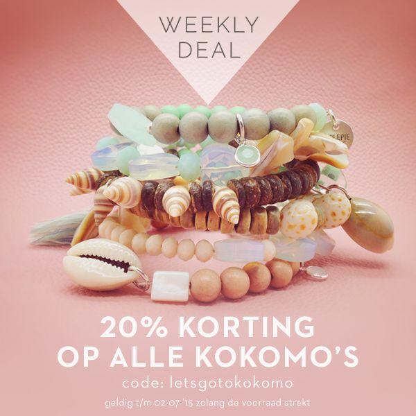 Weekactie: 20% korting op alle Kokomo's Met alleen een Kokomo armband heb je al een serieuze arm vol candy. De vier rijen zijn rijk geregen met kokos, parelmoer, koraal, edelstenen, Tsjechisch glas en Swarovski. Deze week mogen alle Kokomo's met 20% korting de deur uit. Bestel jouw exemplaar hier.