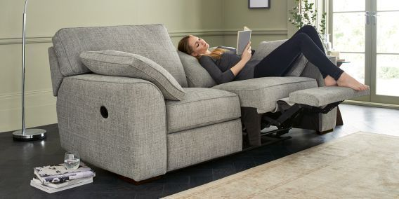Buy Stamford Recliner Recliner Medium Sofa 3 Seats Textured Weave Light Grey Large Square Angle Dark From The Next Uk Online Shop Recli With Images Living Room Recliner