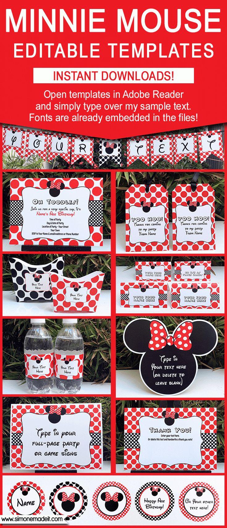 Black & Red Minnie Mouse Party Printables, Invitations & Decorations | Birthday Party | Editable Theme Templates | Via SIMONEmadeit.com | $12.50