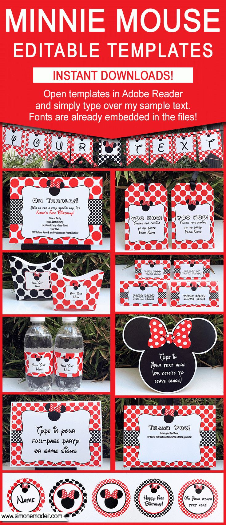 Black & Red Minnie Mouse Party Printables, Invitations & Decorations | Birthday Party | Editable Theme Templates | Via SIMONEmadeit.com | $12.50