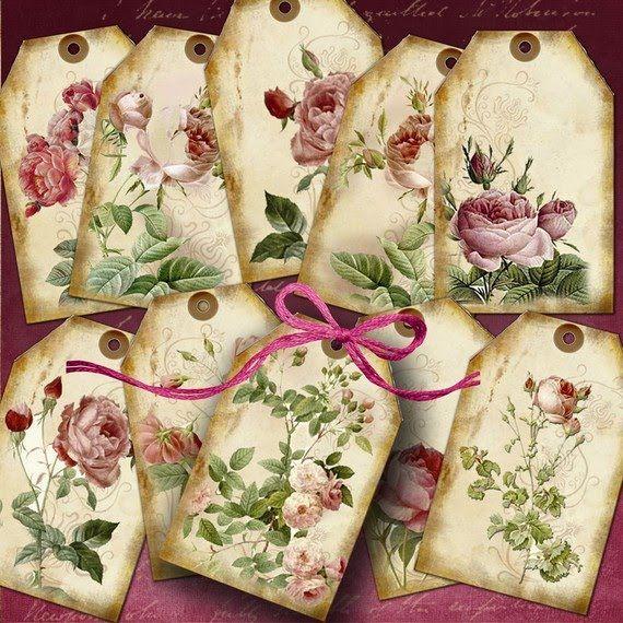 Decoupage gift tags - Laminas De Flores Para #Decoupage