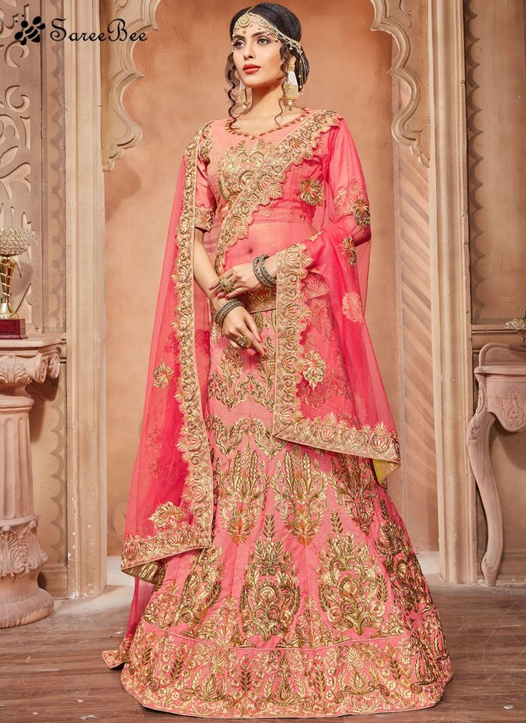 Piquant Rose Pink Lace Work Art Silk Lehenga Choli  Grab the second look in this elegant attire for this season. This rose pink art silk lehenga choli is accenting the gorgeous feeling. This attire is beautifully adorned with embroidered, lace, resham and zari work. Comes with matching choli and dupatta.