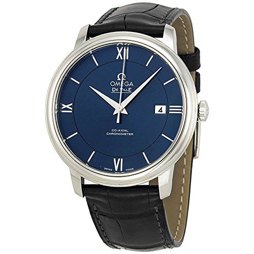 #mensluxurywatches Omega De Ville Prestige Blue Dial Black Leather Mens Watch 42413402003001 Check https://www.carrywatches.com