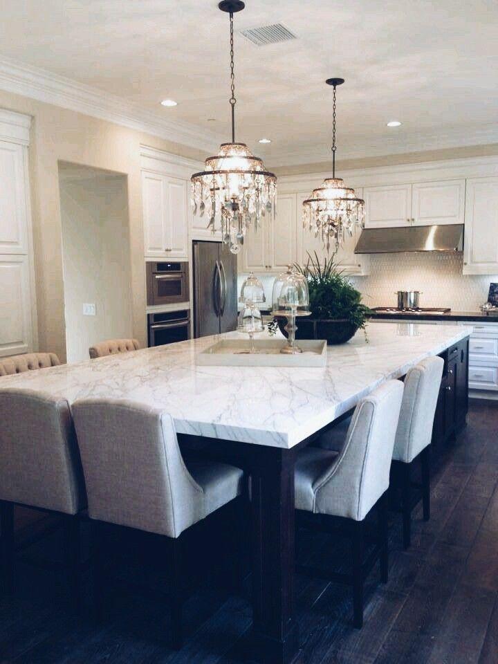 Pin Heatherdelamorton Custom Kitchen Remodel Kitchen Island Dining Table White Kitchen Design