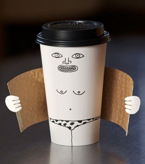 Beetje fout wel grappig. Exhibitionist coffee cup by Brock Davis