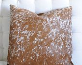 """Light Brown and White Nguni Cowhide Pillow Cover and Down/Feather Insert, 21x21"""" by Herdboi"""