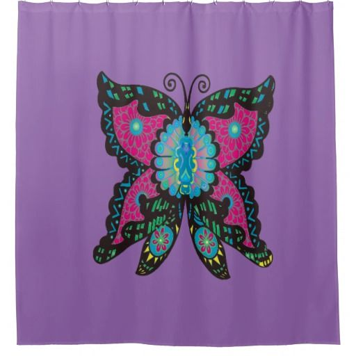 PSYCHEDELIC BUTTERFLY SHOWER CURTAIN
