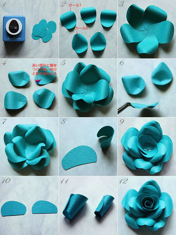 How to make a rose with craft punch paper Fleurs de Papier ~クラフトパンチや花紙で作る立体のお花いろいろ~-クラフトパンチで作る紙のバラ