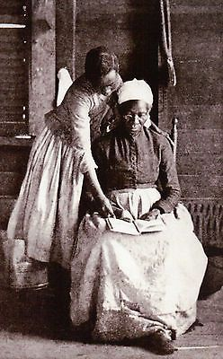 Freed Slave Learning to Read, African American Black Woman -- Civil War Postcard