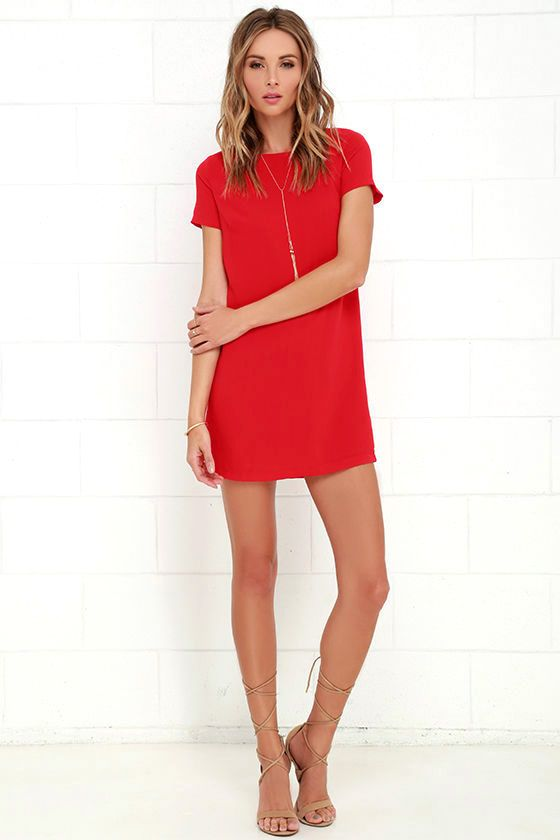 Lulus Exclusive! Shimmy, shuffle, and shake in the Shift and Shout Red Shift Dress, because you know you look so good! Woven poly fabric shapes a rounded neckline atop a darted bodice with short sleeves. The shift silhouette falls into a flirty, leg-baring length. Exposed gold zipper at back.