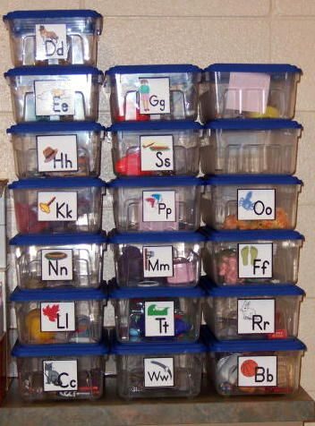 Alphabet boxes with a list of ideas for contents (I have a set of these in my classroom, but I need a few more things for the words that make two sounds)