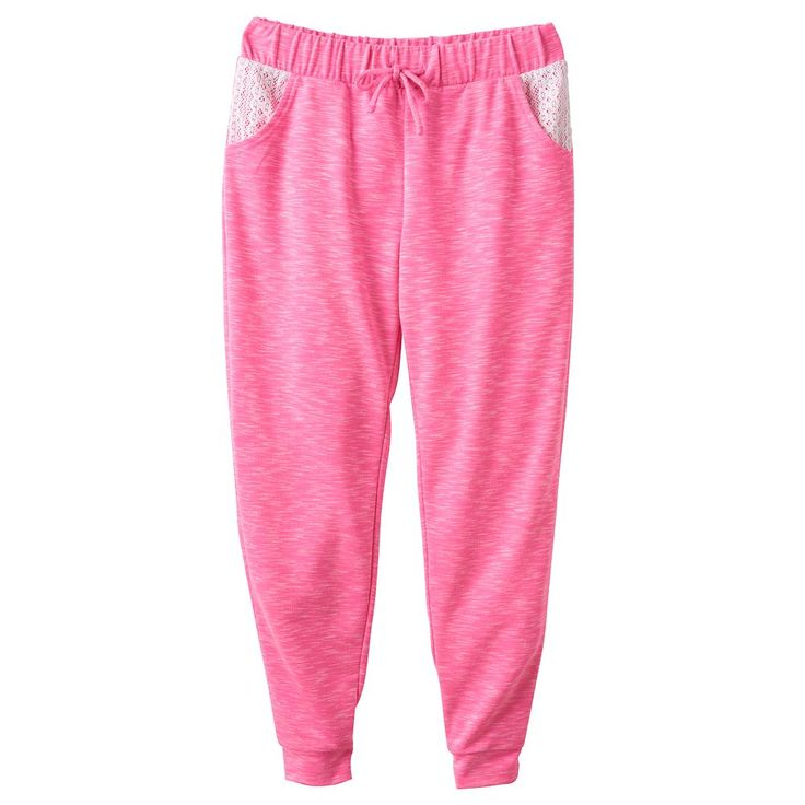 Girls Plus Size SO® Crochet Pocket Jogger Pants, Size: 14 1/2, Brt Pink