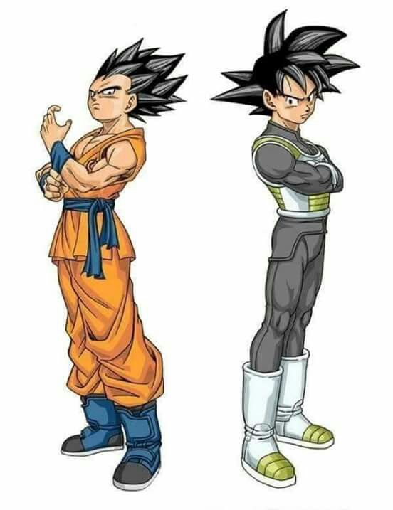 Vegeta and Goku outfit swap