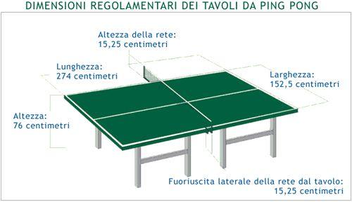 Misure regolamentari del tavolo da ping pong.