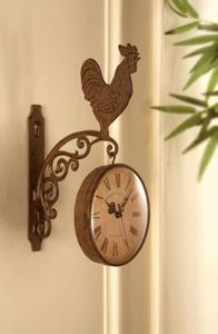 Rooster Kitchen Cast Iron Hanging Wall Clock French Country Rustic Farm Decor