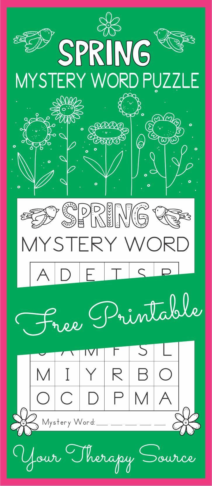 Spring Mystery Word Visual Perceptual Puzzle - challenge discrimination, visual scanning, letter recognition and visual motor skills all on ONE puzzle page.  Great for early finishers, indoor recess or morning work!  Would be a fun challenge for pediatric occupational therapy!